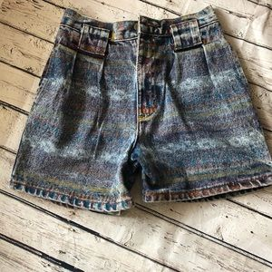 Other - Vintage High-Waisted Rainbow Look Denim Shorts